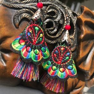 Beautiful Floral Boho Embroidered Tassel Earrings